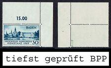 Franz Zone Baden MiNr 46 II r.o. Eckrand tiefst gepr. postfrisch aus 1949 (45)