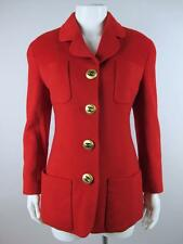 Chanel Vintage Red Cashmere Blazer Jacket with Gold Buttons and Pockets Size 38