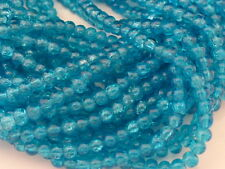 1 Strand x 4mm Crackle Glass Round Beads Dark Turquoise Blue (200 Beads) (GLB39)