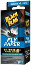 4 Pack - Black Flag Fly Paper, Catches All flying Insects - Contains 4 Traps