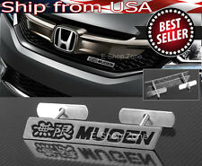 Metal Chrome Black Mugen Front Black Emblem Badge For Honda  Acura Grill Grille