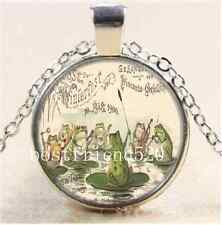 Frog Orchestra Photo Cabochon Glass Tibet Silver Chain Pendant Necklace#3106
