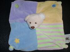 doudou plat ours jaune mauve bleu vert rayé CMP (2 dispo)