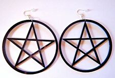 GIANT BLACK PENTAGRAM HOOP EARRINGS laser-cut plastic star wiccan goth hook 2D