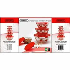 5 Pcs Nested Glass Mixing Bowls Set With Apple Design and Red Lids - Set of 5
