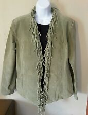 Dialogue women's small green genuine leather fringed jacket