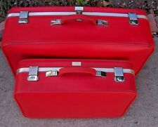 2 PC VINTAGE RED AMELIA EARHART SUITCASES LUGGAGE 1960's