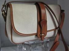 Vintage Dooney and Bourke Off-White & Brown AWL Leather Satchel Shoulder Bag USA