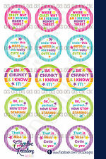 """(15) 1"""" Precut Bottle Cap Toddler & Baby Sayings Images Hair Bow Jewerly"""