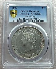 1867 Hong Kong Silver Dollar Queen Victoria PCGS XF Nice Condition Scarce