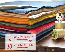 YOU SELECT Merino Wool Felt Blend Fabric 5 or 10 Sheet Bundle Craft Sew, Create