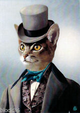 Modern Russian card Handsome Cat in Tuxedo and Top Hat
