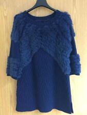 Matthew Williamson - Fur And Knitted Designer Jumper - Dark Blue - UK Size 12