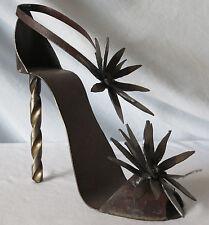 Recycled Metal Shoe Art Sculpture MICKI VOORHIES Drill Bit Heel