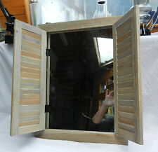 Large Driftwood Wall Mirror with Shutters - BNWT - Shabby Chic
