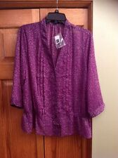 Gap Top Blouse Purple Gray Sheer Button Front3/4 Sleeve Womans Size L New