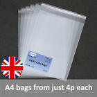 A4 Cello Cellophane Bags with Self Seal strip C4 Crystal Clear