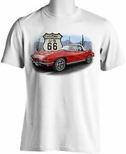 Route 66 Souvenir T Shirt Red Sports Car Retro Television Show S to 6XL Big Tall
