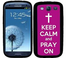 Purple Keep Calm and Pray On For Samsung S3 Galaxy Case Cover