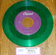 "* * RARE BEATLES ""CAN'T BUY ME LOVE"" UNPLAYED MINT GREEN VINYL 45/JUKEBOX STRIP!"