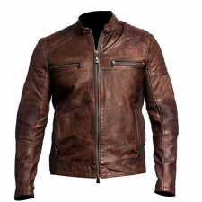 Men's Biker Vintage con Effetto Invecchiato Marrone Moto Cafe Racer Leather Jacket