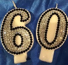Number Sixty 60 Sixtieth Birthday CANDLE Diamanté Cake Topper Party FREEPOST