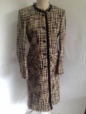CUSTOM MADE Ladies fringed brown / beige coat - Embassy Fashions UK 12 worn once