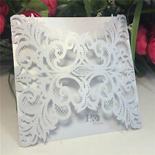 100PCS White Laser Cut Wedding Invitation Card Personlized Customize Party Favor