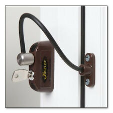 Jackloc Cable Window Restrictor 200mm for UPVC Child Safety with Key Lock Brown