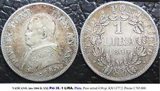 VATICANO. Año 1866 R. XXI. Pió IX. 1 LIRA. Plata. Peso 4,96 gr. KM 1377.2.