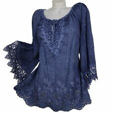 BAROCK SOMMER HAKEL SPITZE BLUSE TUNIKA KLEID SHIRT 44  BLAU TOP PARTY STRAND