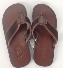 Ralph Lauren Leather Flip Flops Sandals Mens 8 D Brown Big Pony Beach Pool Slide