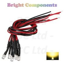 20 x Pre-Wired Warm White LED 3mm Flat Top : 9V ~ 12V : 1st CLASS POST