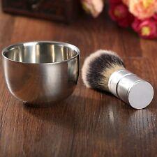 Badger Silvertip Hair Shaving Brush Stainless Steel Bowl Mug Cup Barber Men Gift