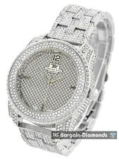 men's silver tone ice out dial business clubbing watch bracelet Techno King