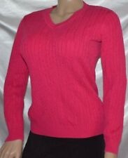 EUC Ladies VAN HEUSEN Cable V-Neck Knit SWEATER Shirt Top Dark Pink size M