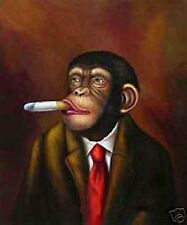 "Art Repro oil painting:""Gorilla tycoon at canvas"" 24x36 Inch"