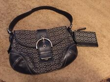Coach Soho Signature Hobo Handbag With Matching Change Purse, Black And Gray