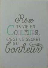 "Art print Carte A5 ( 14,8 cm x21 cm) Citation Disney"" Rêve ta vie en couleurs ."""