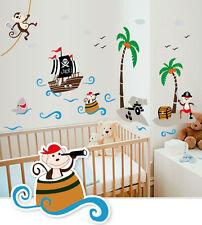 Wandtattoo Wandsticker  Affe Piraten Spielzimmer  Kinderzimmer Baby Neu