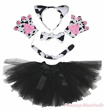 Halloween Party Diary Cattle Milk Cow Headband Ear Paw Tail Bow Skirt Costume
