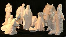 Large Vintage Ceramic Mold Nativity Set 13 Pieces White