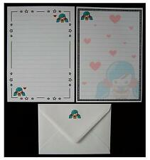 NEW Design Cute Kawaii Blue-Green Hair Girl Letter Writing Paper Stationery Set