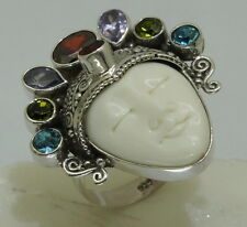 Handmade Bali Goddess Gemstone bone Ring (Adjustable) in 925 Sterling Silver