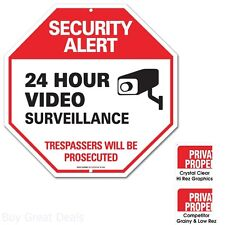 Large Security Alert Sign Aluminum Rust Free Outdoor Lawn Patio Yard Decor New