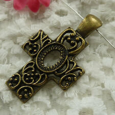 Free Ship 5 pieces bronze plated cross pendant 61x34mm #1130