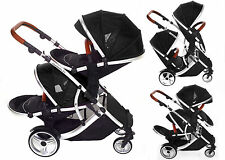 Duellette 21 BS  BLACK  Double pushchair Twin Tandem stroller Pram Kids kargo