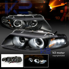 1997-2000 Dodge Avenger LED Halo Projector Headlights Black Pair