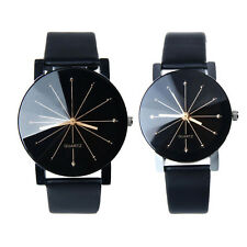 1 Pair Men and Women Watch Quartz Dial Leather Wrist Watch Round Couple Watches
