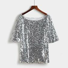 Sexy Womens Ladies Sequin Sparkle Glitter Cocktail Party Slim Top T-Shirt Blouse